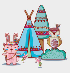 rabbit and owl tribal animal in the forest vector image