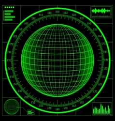 radar screen digital globe vector image vector image