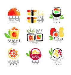 sushi bar logo template set colorful watercolor vector image