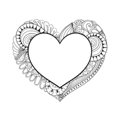 Floral doodle heart frame in zentangle style for vector image vector image