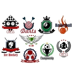 Various sports heraldic symbols and icons vector image