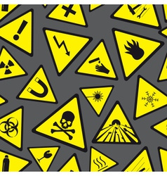 Yellow and black danger and warning signs pattern vector