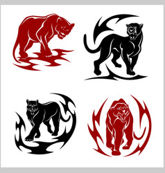 black panthers set - stylized images for tattoos vector image