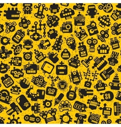Cartoon robots faces seamless pattern on yellow vector image vector image