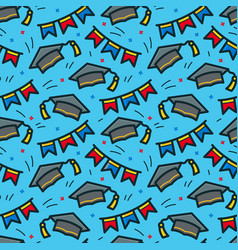 graduation caps seamless pattern vector image vector image