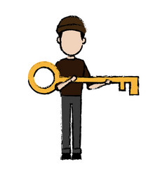 hacker character holding big key security image vector image