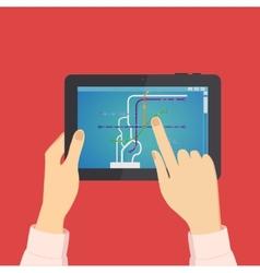 Man looks on the tablet metro scheme vector image