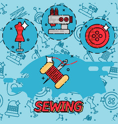 sewing flat concept icons vector image