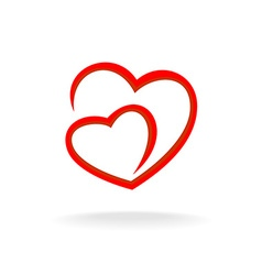 Two hearts logo vector image vector image