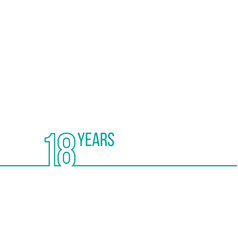 18 years anniversary or birthday linear outline vector