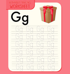 Alphabet tracing worksheet with letter g and g vector