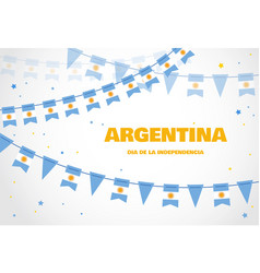 Argentina flags bunting on white background vector