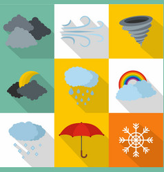 Atmospheric icons set flat style vector