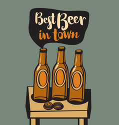 banner with a beer bottles on table vector image