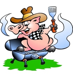 BBQ Pig sitting on a grill barrel vector