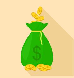 big money bag icon flat style vector image