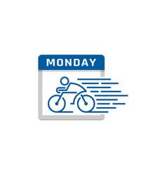 bike calendar logo icon design vector image