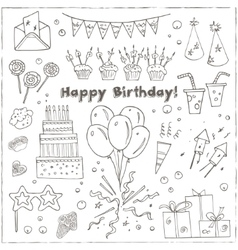 Birthday party doodles elements background vector
