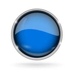 Blue button with chrome frame round glass shiny vector