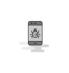 bug on a smartphone web icon flat line filled vector image