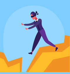 Businessman blindfolded walking abyss between vector
