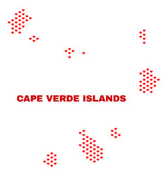 cape verde islands map - mosaic of valentine vector image