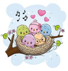 Cartoon birds in a nest on a branch vector