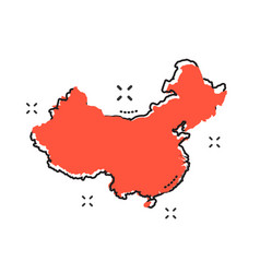 cartoon china map icon in comic style china sign vector image