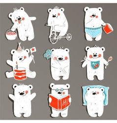 Cartoon White Baby Bears in Action Collection vector image