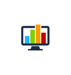 Chart computer logo icon design vector