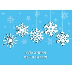Christmas decoration from white snowflakes vector image