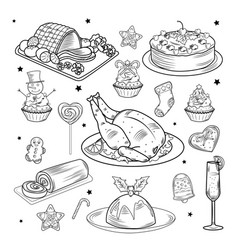 christmas traditional food and drink set vector image