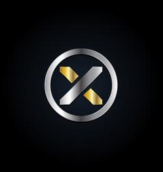 circle silver gold x logo symbol vector image