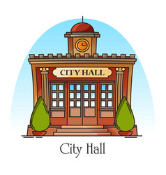 City hall government building in thin line vector