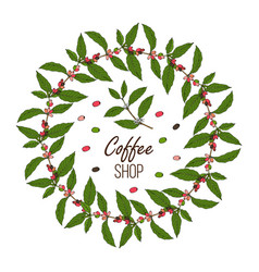 coffee shop design with branch wreath and berries vector image