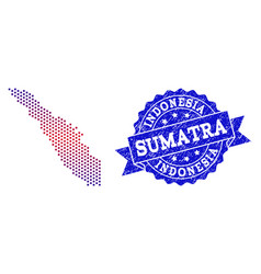 Collage of gradiented dotted map of sumatra island vector