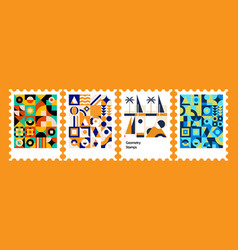 colorful geometry postage stamps vector image