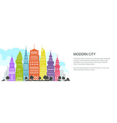 colorful modern big city banner vector image