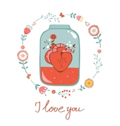 Concept love card with heart in jar and floral vector