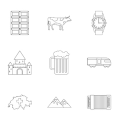 Country Switzerland icons set outline style vector image