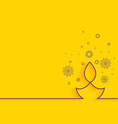 creative line diya on yellow background minimal vector image