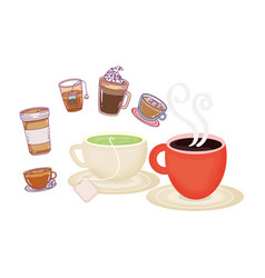 Cups coffee and tea fresh beverage coffee time vector