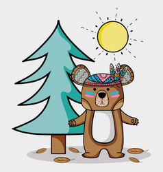cute bear animal with feathers in the forest vector image