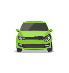 damaged green car vector image