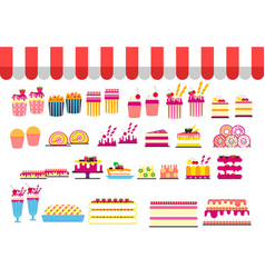 Day sweets postcard set confection vector