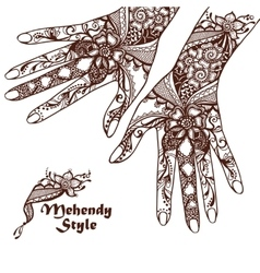 Decorative Hands With Henna Tattoos vector