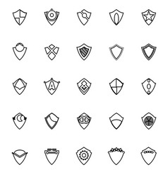 Design shield line icons on white background vector
