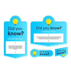 Did you know label and card set vector