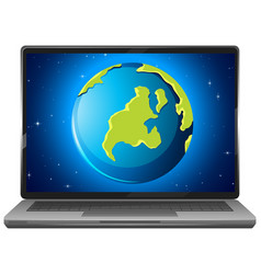 earth graphic display on laptop screen vector image