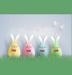 Easter day with egg in grass vector